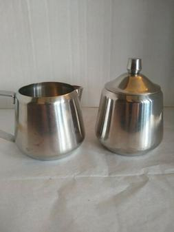 ONEIDA 18/8 Stainless Steel Creamer and Sugar Bowl with Lid