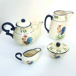 6 Pc Cracker Barrel Teapot With Rooster,.Pitcher, Creamer &