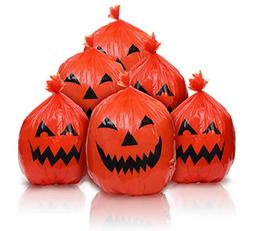 6 Pieces Halloween Pumpkin Lawn Bags Plastic Leaf Bags for O