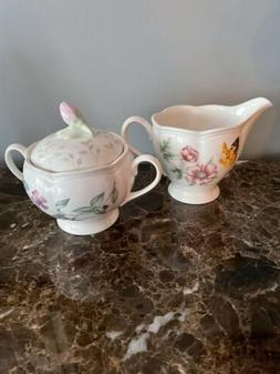 Lenox Butterfly Meadow Fine China Creamer and Sugar Bowl w/