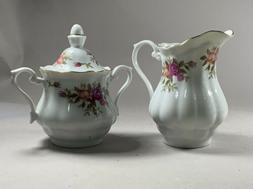 Crystal Clear Fine Porcelain Poland Rose White Creamer and S
