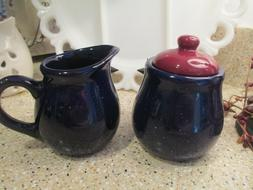 Farmhouse Kitchen  Ceramic Cobalt Blue and Red Creamer and S