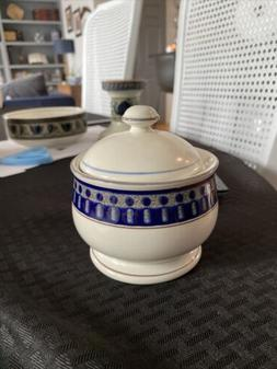 mikasa potters touch aztec blue Sugar Bowl With Lid