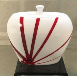 pure red sugar bowl with lid porcelain