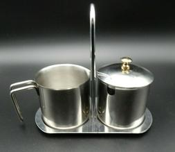 stainless steel sugar bowl creamer and tray