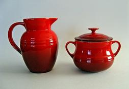 LE CREUSET STONEWARE SET CREAMER & SUGAR BOWL WITH LID RED C