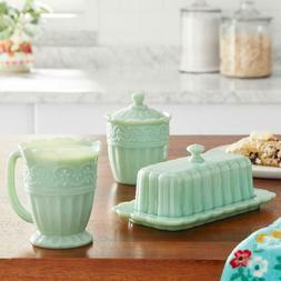 The Pioneer Woman Timeless Beauty 3-Piece Sugar Bowl, Creame