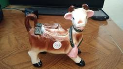 Vintage Brown and White Cow Sugar Bowl Ceramic with Lid