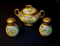 W. Guerin Limoges Hand Painted sugar bowl, salt and pepper s